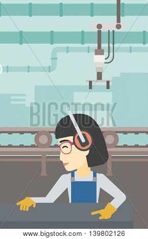 An asian woman working on metal press machine. Worker in headphones operating metal press machine at workshop. Woman using press machine. Vector flat design illustration. Vertical layout.