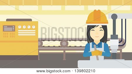 An asian woman working on industrial drilling machine. Woman using drilling machine at manufactory. Metalworker drilling at workplace. Vector flat design illustration. Horizontal layout.