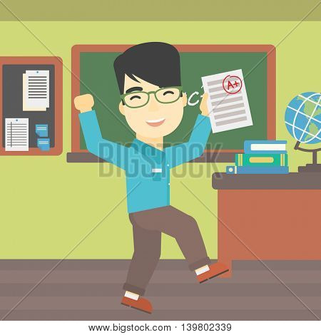 An asian happy student holding a sheet with the highest mark. Student showing test with A grade in the classroom. Student received best mark. Vector flat design illustration. Square layout.