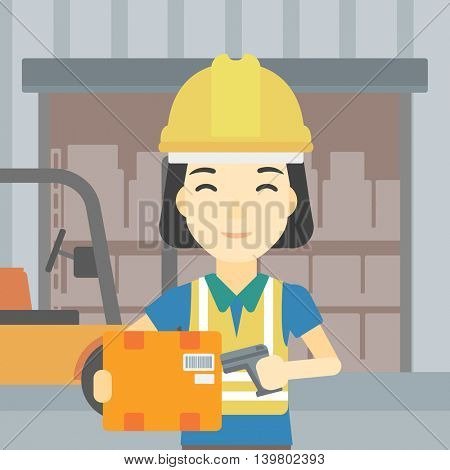 An asian warehouse worker scanning barcode on box. Warehouse worker checking barcode of box with a scanner. Woman in hard hat with scanner. Vector flat design illustration. Square layout.