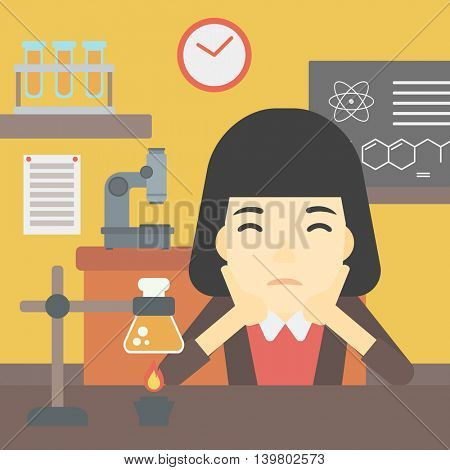 An asian young student carrying out experiment in science class. Student working at laboratory class. Student clutching head at chemistry class. Vector flat design illustration. Square layout.