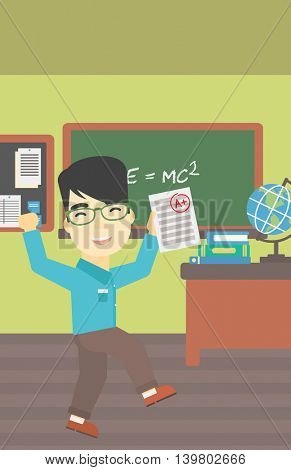 An asian happy student holding a sheet with the highest mark. Student showing test with A grade in the classroom. Student received best mark. Vector flat design illustration. Vertical layout.
