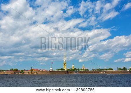 Peter and Paul fortress in summer day in Saint-Petersburg