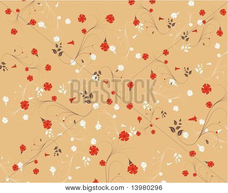 Spring floral vector ornament with leaves and flowers