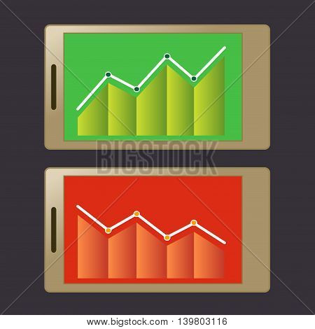 Vector stock of financial graphic chart set displayed on smart phone screen