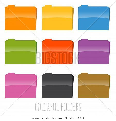 Vector stock of colorful document file folders in various color