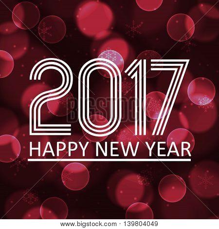Happy New Year 2017 On Dark Bokeh Circle Background Eps10