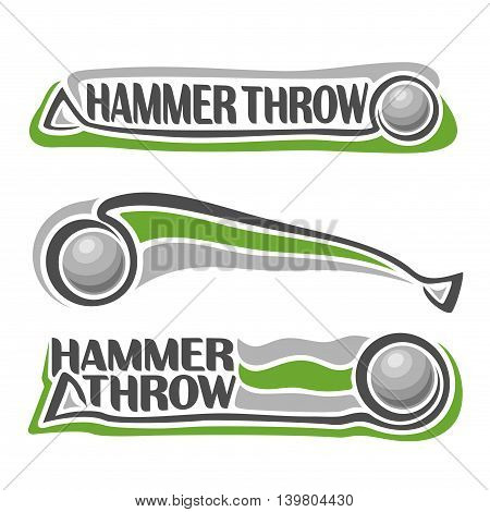 Vector logo for athletics hammer throw, consisting of stick sphere flying on trajectory, 3 sport metal throwing balls. Track and field equipment for summer games. Flying Hammer Throw