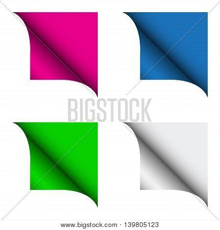Set of four color curled corner vector illustration