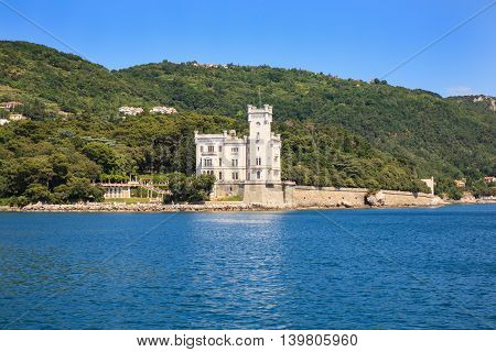 View of Miramare castle from sea Italy