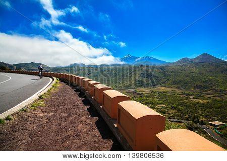 A Lone Cyclist On The Road Near Valle De Arriba
