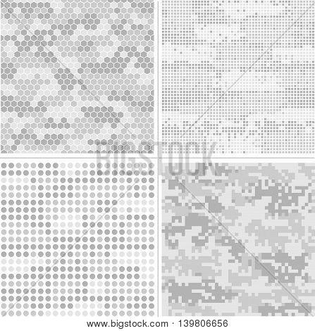 Seamless vector digital Pixel Camouflage collection - Urban, Desert, Jungle, Snow camo vector set