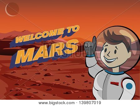 Human astronaut on Martian landscape. Welcome to Mars.