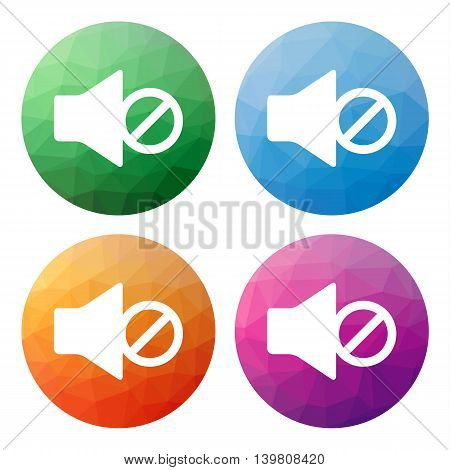 Set  Of 4 Isolated Modern Low Polygonal Buttons - Icons - For