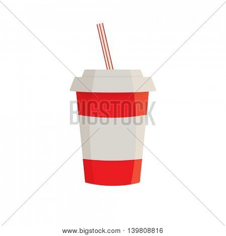 Soft drink in a red paper cup. Soda drink isolated on white background