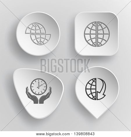 4 images: shift globe, and array down, clock in hands. Business set. White concave buttons on gray background. Vector icons.