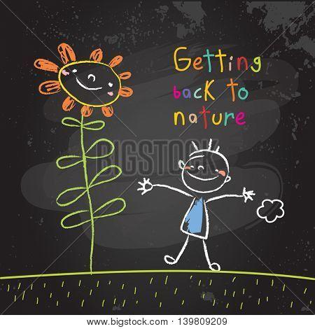Kids getting back to nature, summer holiday concept vector illustration. Educational chalk on blackboard doodle, sketch.
