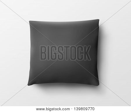 Blank black pillow case design mockup isolated clipping path 3d illustration. Clear pillowslip cover mock up template. Bed cotton pillow shell ready for texture pattern. Clean pillow empty sham.