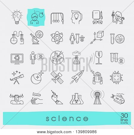 Collection of scientific icons. Line icons of science, ideas, physics, chemistry, astronomy, genetic engineering.