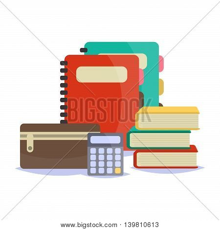 Vector illustration of Back to School supplies. School supplies learning equipment and different school supplies colorful office accessories. Back to school school supplies big set.