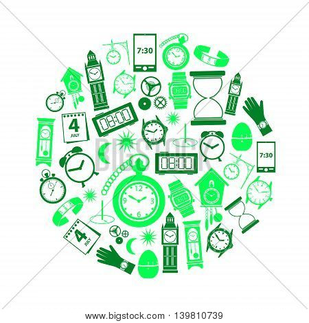 Time Theme Modern Simple Green Icons In Circle Eps10