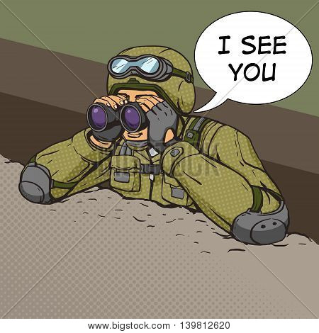 Soldier looks through binoculars from the trenches. Cartoon pop art vector illustration. Human comic book vintage retro style.