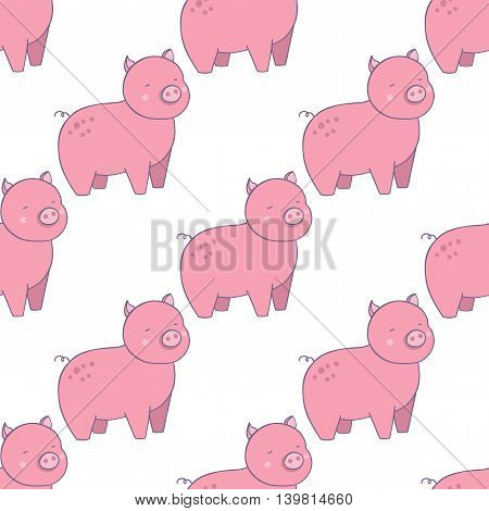 Happy pigs vector set. Vector illustration of little pigs in cartoon style