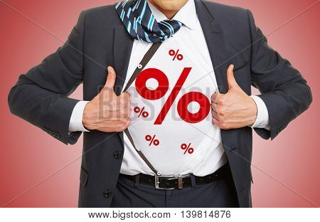 Red Percent signs as symbol for discount on a shirt of a business man
