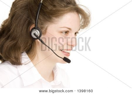 Receptionist With Headphones, Profile