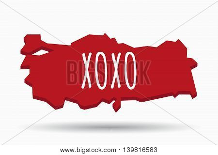 Isolated Turkey Map With    The Text Xoxo