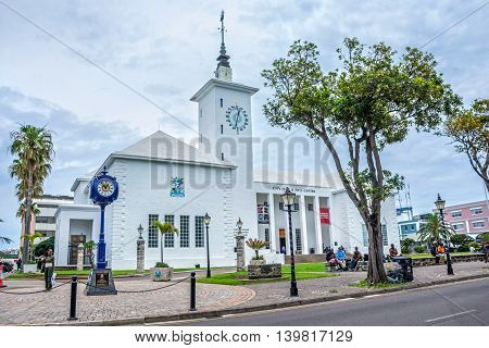HAMILTON BERMUDA MAY 25 - The City Hall and Arts Centre on an overcast day on May 25 2016 in Hamilton Bermuda