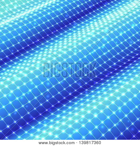 Three-dimensional polygonal blue mesh grid on waved surface. Vector background