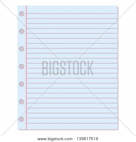 Notebook Paper Vector Background. Blank Education Design Notepad Empty Notebook  Paper Sheet. Template Object  Notepad Paper Template