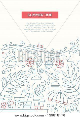 Summer Time - vector line design brochure poster, flyer presentation template, A4 size layout. Summer vacation, holidays, traveling, seaside, recreation, tourism, resort
