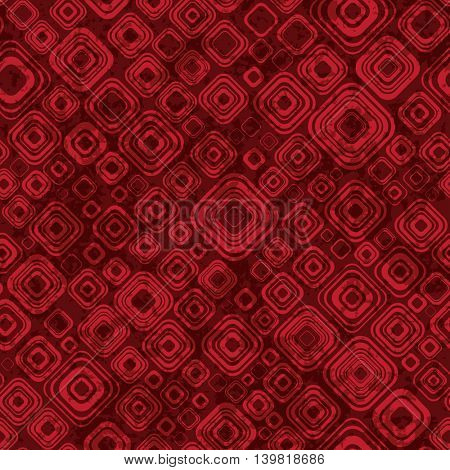 Abstract geometric pattern in red colors. Retro seamless texture. Endless grunge Background.