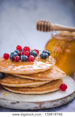 Pancakes With Redcurrant And Berries