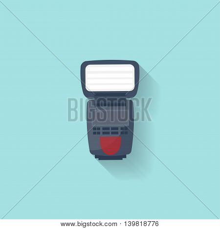 Camera flash in a flat style. Photography art. Photoshooting. Studio light. Vector illustration
