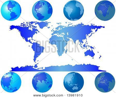 Set of world globes for design use