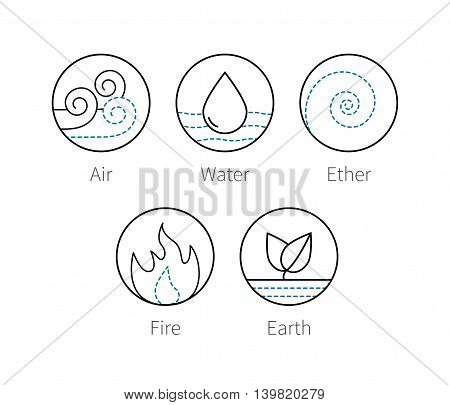 Ayurveda elenemts icons set fire, ether, air, earth and water. Outline thin vector symbols of natural elements