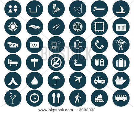 Biggest collection of different travel icons for using in web design