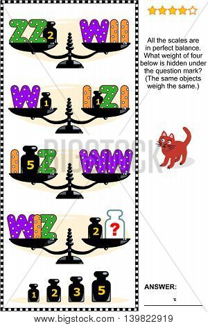 Visual math puzzle with scales, weights,  and letters I, W, Z:  What weight of four below is hidden under the question mark? Answer included.