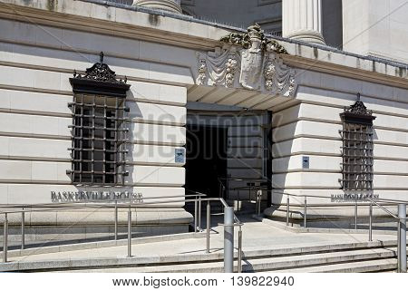 BIRMINGHAM, UNITED KINGDOM - JUNE 6, 2016 - Front entrance to Baskerville House in Centenary Square Birmingham England UK Western Europe, June 6, 2016.