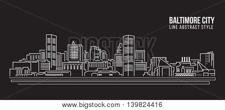 Cityscape Building Line art Vector Illustration design - Baltimore City