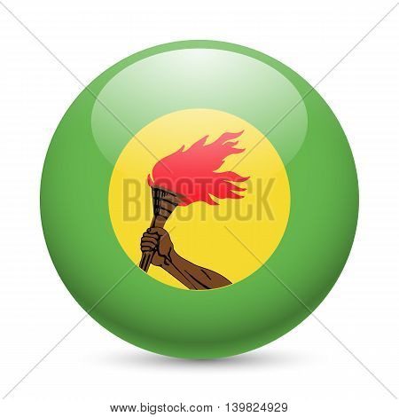 Flag of Zaire as round glossy icon. Button with Zairean flag
