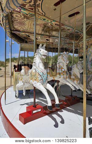 Merry-go-round On Belgian Seaside