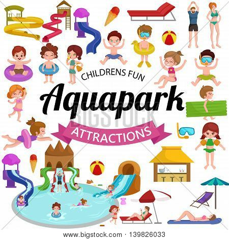 Waterpark aquapark playground with slides and splash pads for family fun vector illustration. Summer aquapark waterpark and happy child aquapark. Amusement swim fun childhood aquapark waterpark poster