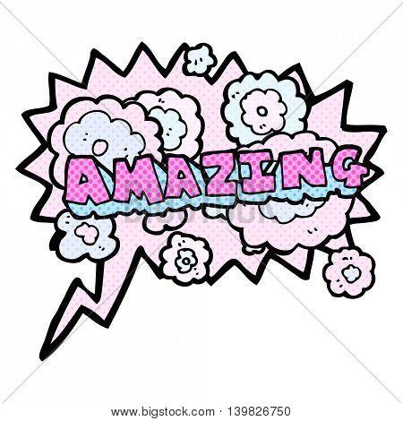 freehand drawn comic book speech bubble cartoon amazing word