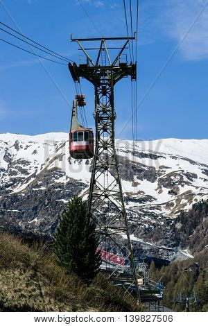 Cable car to Matterhorn Mountian in Zermatt Switzerland Swiss Alps