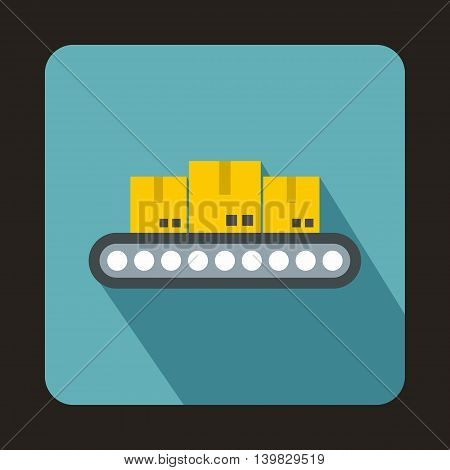 Conveyor belt with boxes icon in flat style on a baby blue background