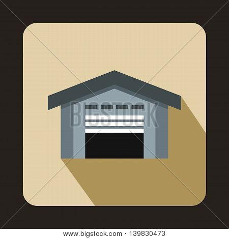 Warehouse with open door icon in flat style on a beige background